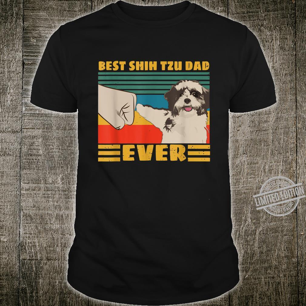 Best Shih Tzu Dad Ever Retro Vintage Shirt