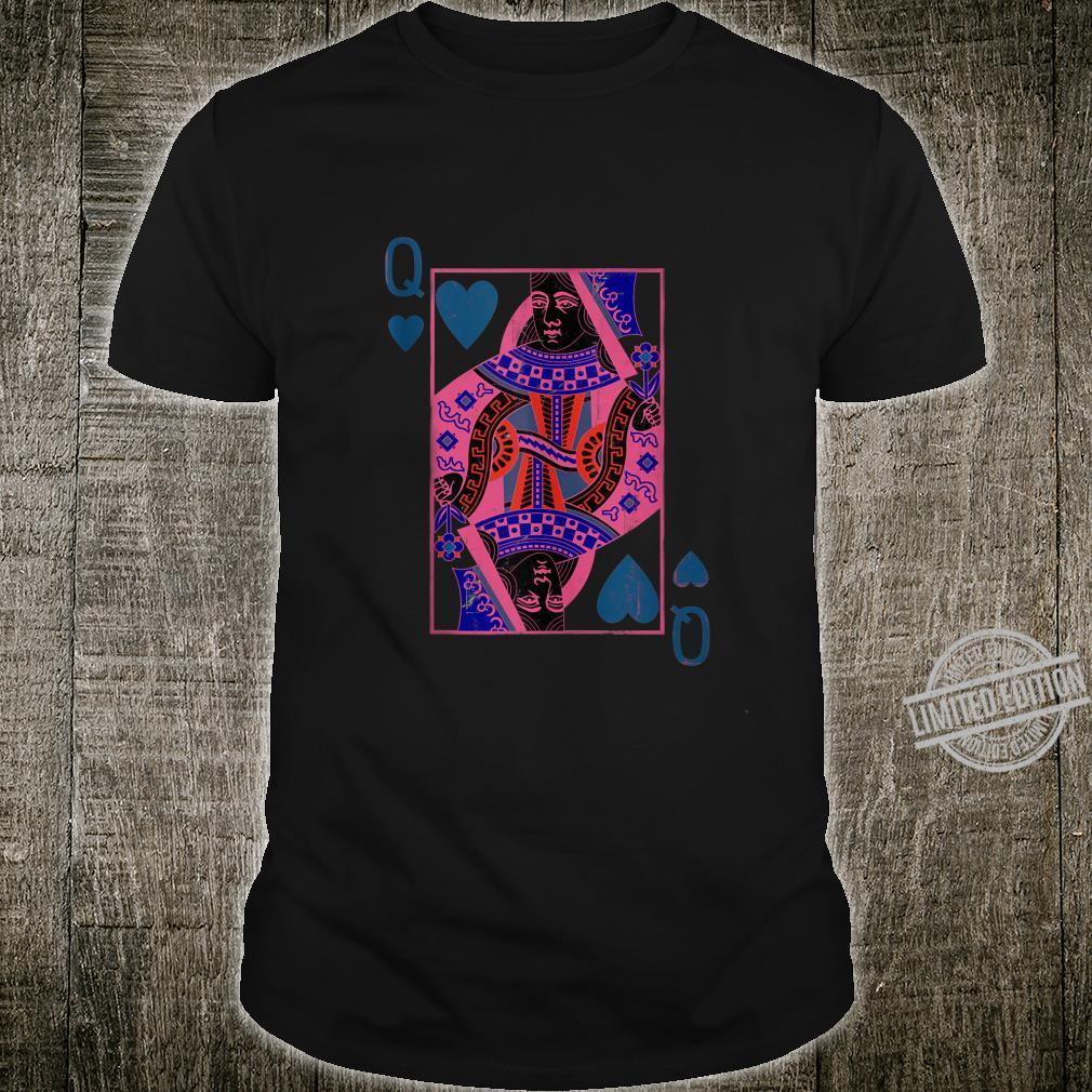 Black Queen of Poker Card Darkened Colors Hearts Shirt