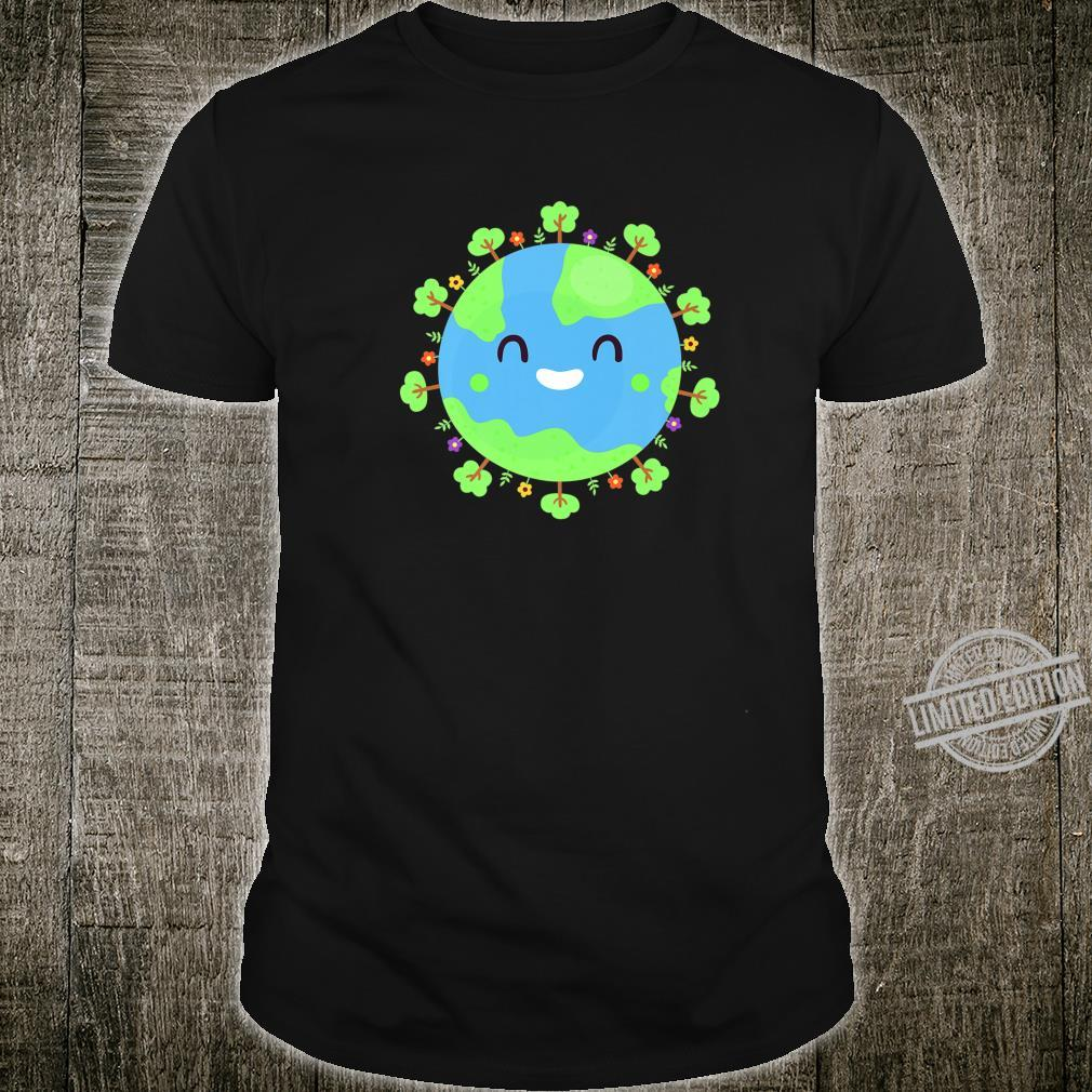 Earth Globe Smiling Earth Day Nature Trees Save Environment Shirt
