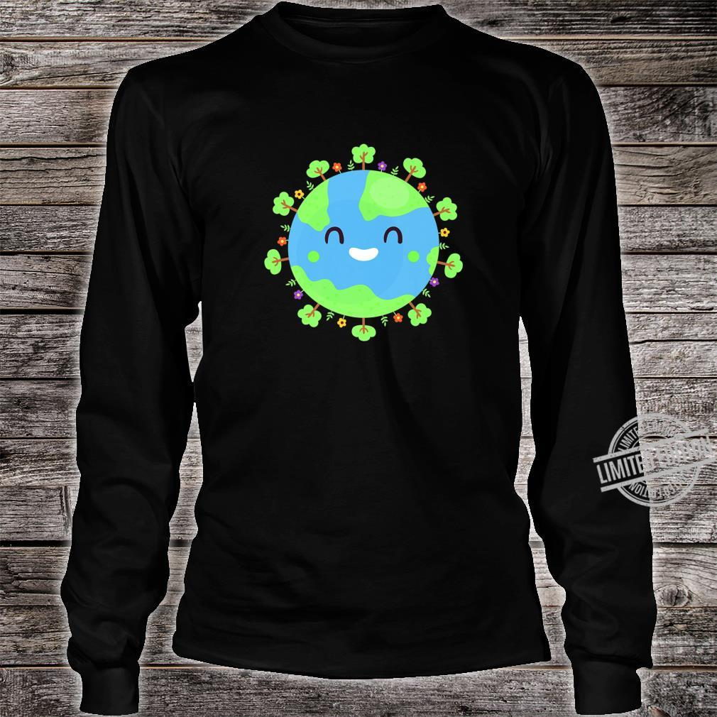 Earth Globe Smiling Earth Day Nature Trees Save Environment Shirt long sleeved