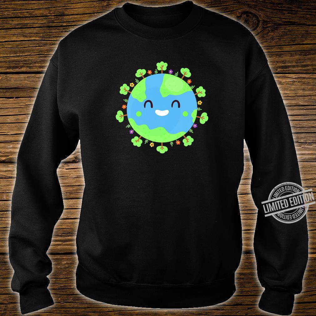 Earth Globe Smiling Earth Day Nature Trees Save Environment Shirt sweater