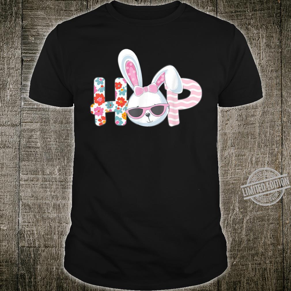 Easter Shirt for Girls Hop Easter Bunny Flowers Shirt