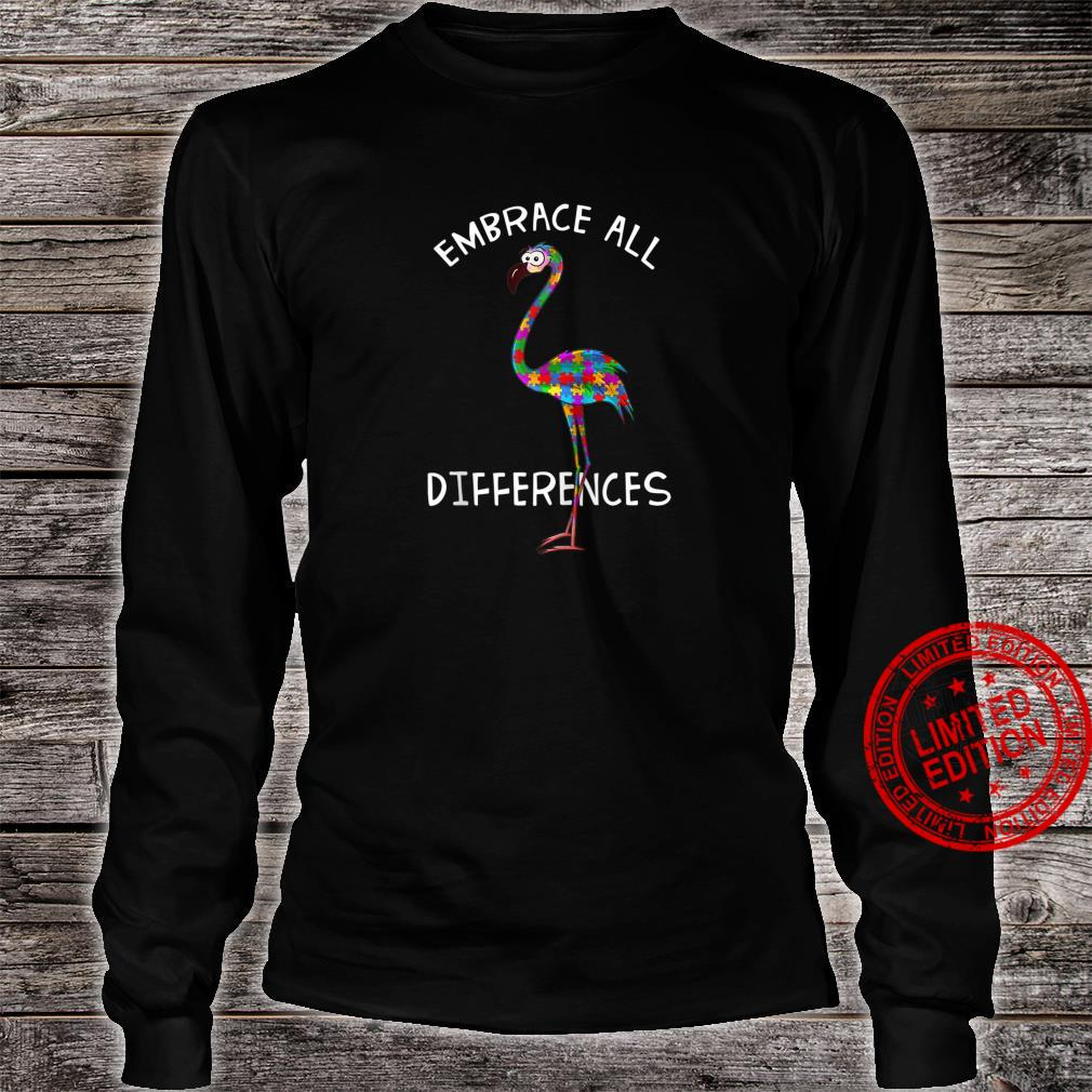Embrace All Differences Puzzle Flamingo Autism Awareness Shirt long sleeved