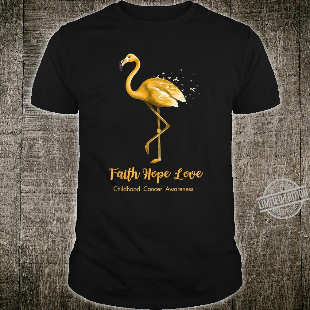 Faith Hope Love Flamingo Ribbon Childhood Cancer Awareness Shirt