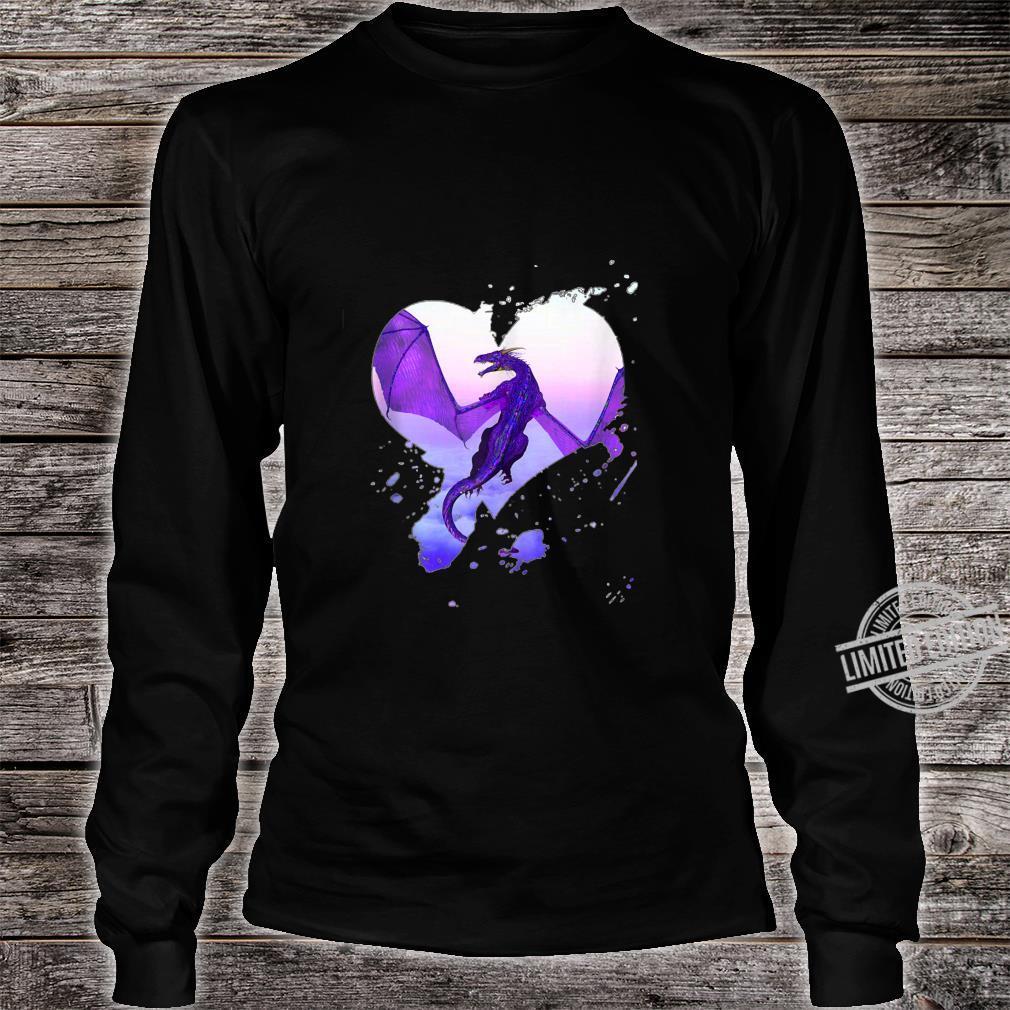 Fantasy Purple Heart Dragon By Rebellion Ink Shirt long sleeved