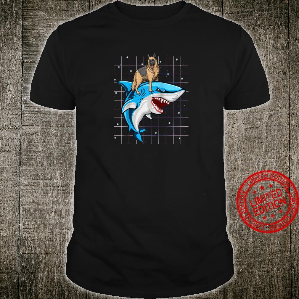 German Shepherd Riding Shark Space Galaxy Shirt