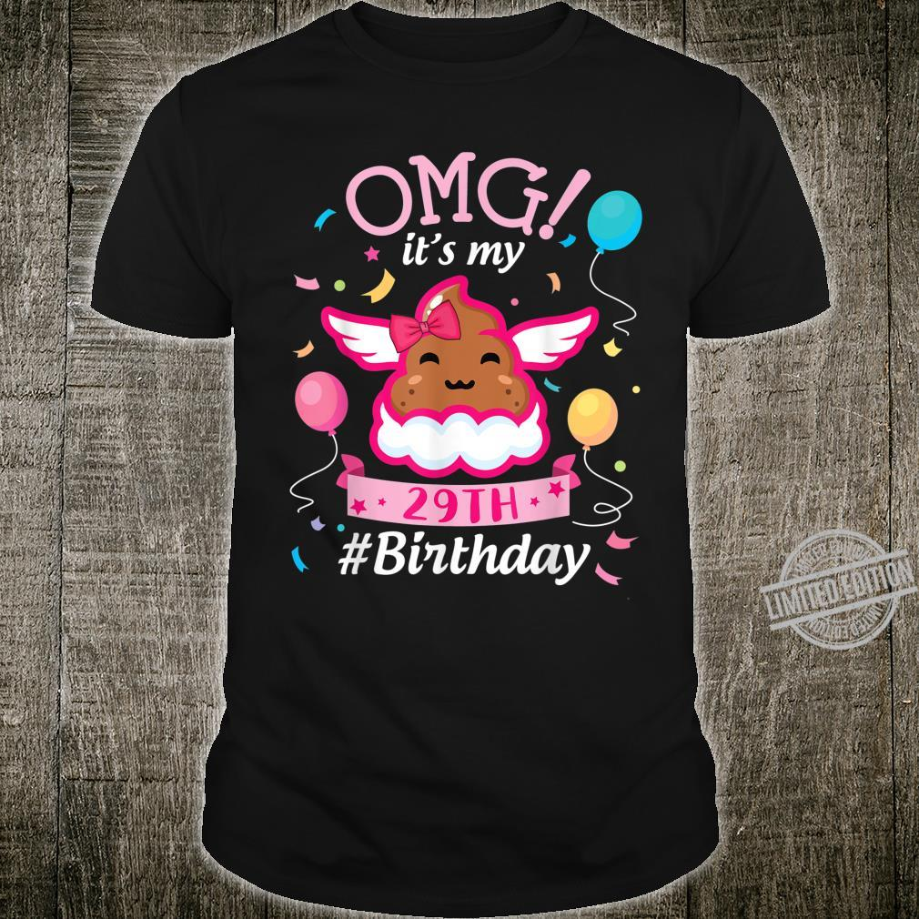 Girl Poop Fly With Balloons Stars OMG It's My 29th Birthday Shirt