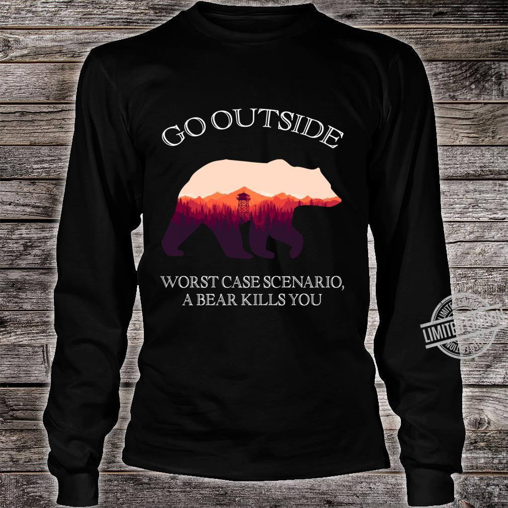 Go Outside Worst Case Scenario, A Bear Kills You Classic Shirt long sleeved