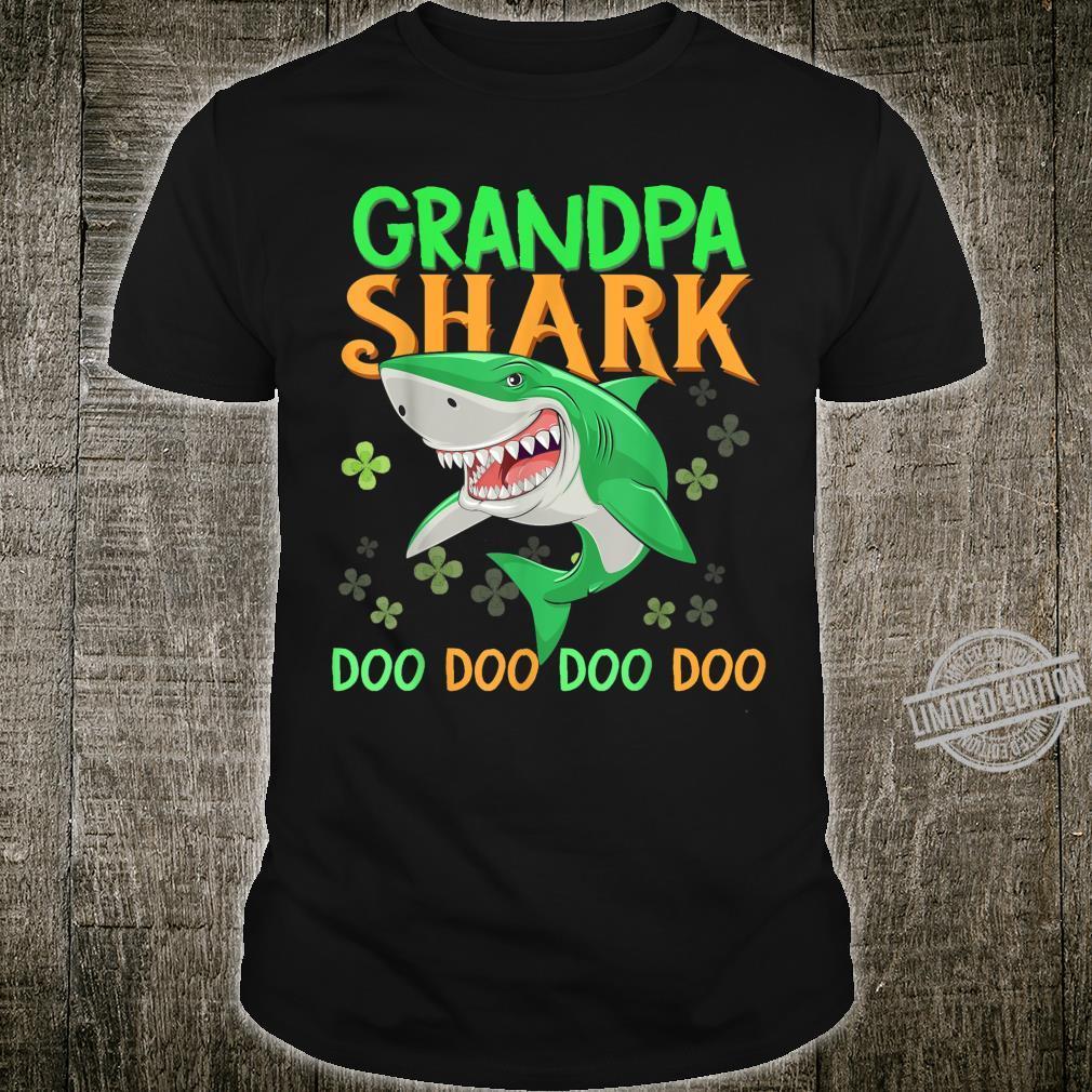 Grandpa Shark Doo Doo Doo St Patricks Day Irish Shamrocks Shirt