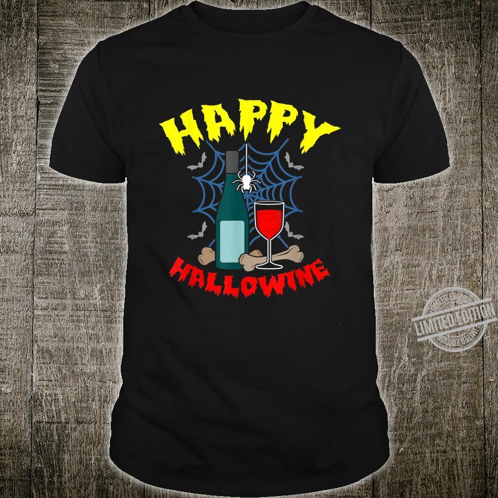 Happy Hallowine Wine Halloween Skeleton Shirt