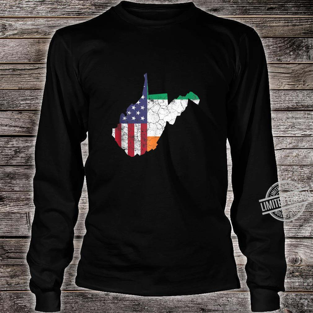 Irish American Flag West Virginia St. Patrick's Day Vintage Shirt long sleeved