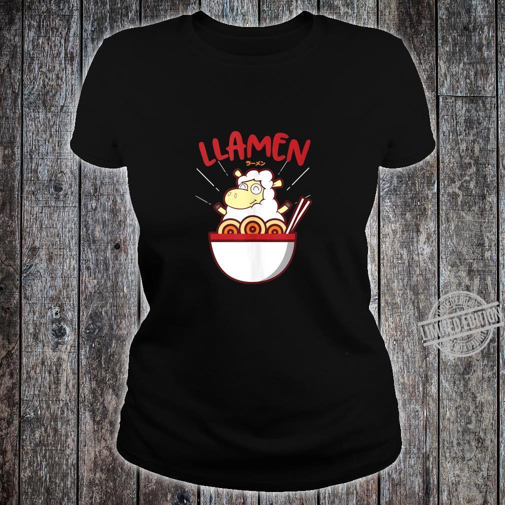 Japanese Cute Noodles Alpaca Llama Ramen Llamen Shirt ladies tee