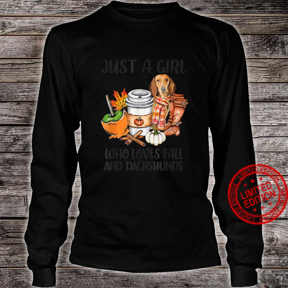 Just A Girl Who Loves Fall And Dachshunds Autumn Fall Shirt long sleeved