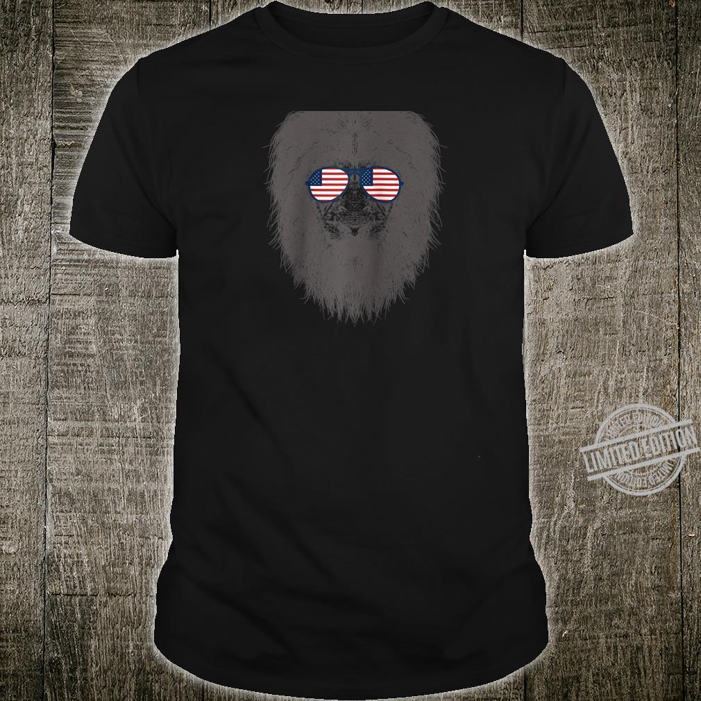Lion in American Flag Sunglasses Safari Lion Shirt