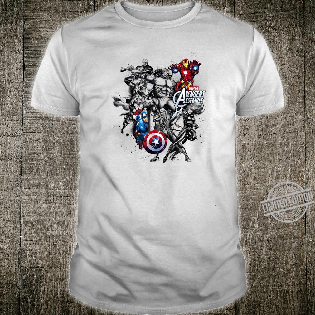 Marvel Avengers Assemble Group Shot Black And White Poster Shirt