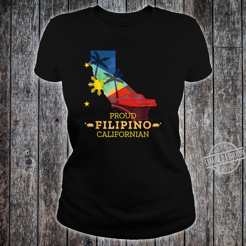 Proud Filipino Californian California Map Philippines Flag Shirt ladies tee