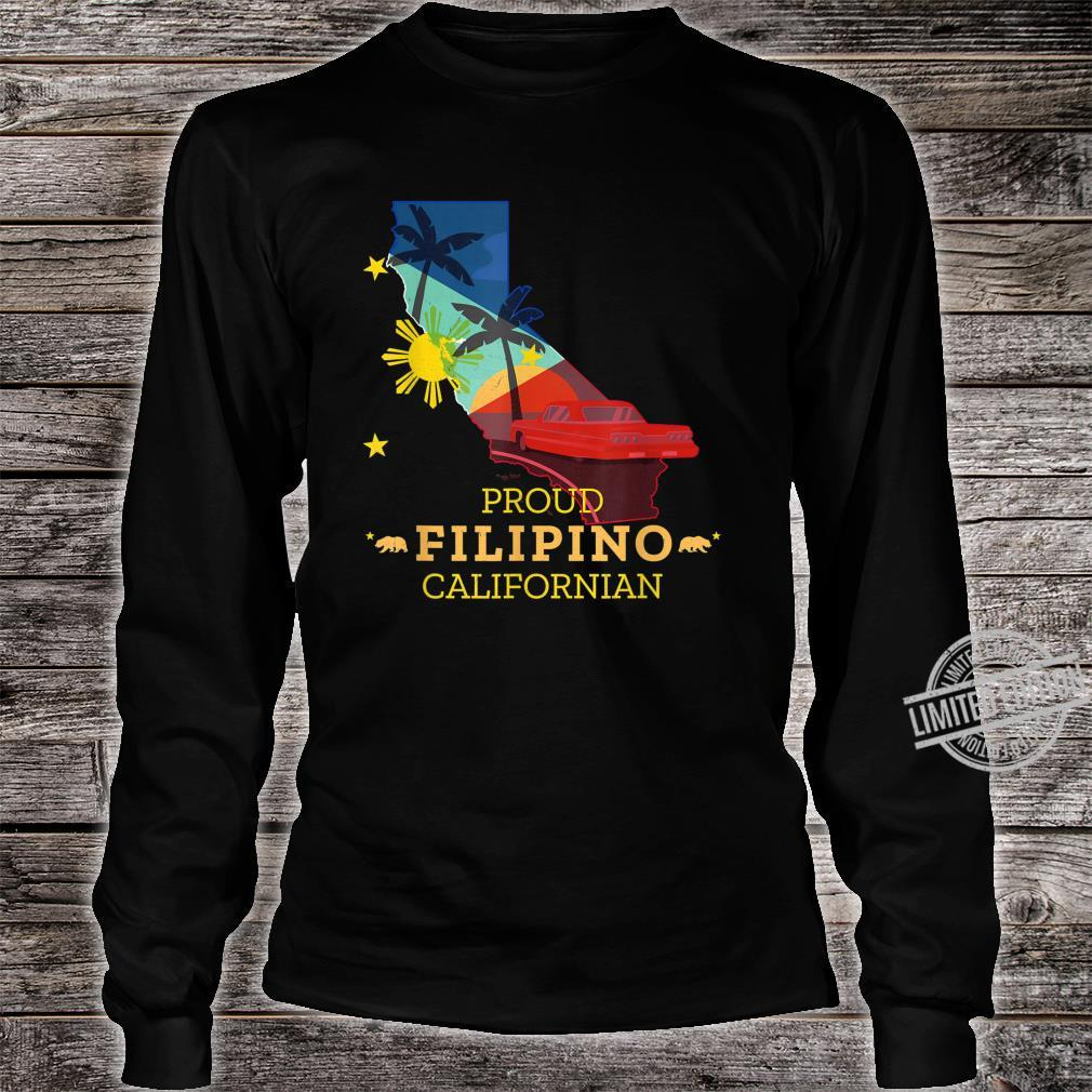 Proud Filipino Californian California Map Philippines Flag Shirt long sleeved