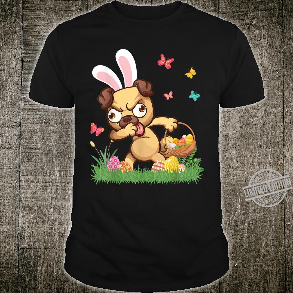 Pug Bunny Dog Dabbing With Easter Eggs Basket Butterflies Shirt