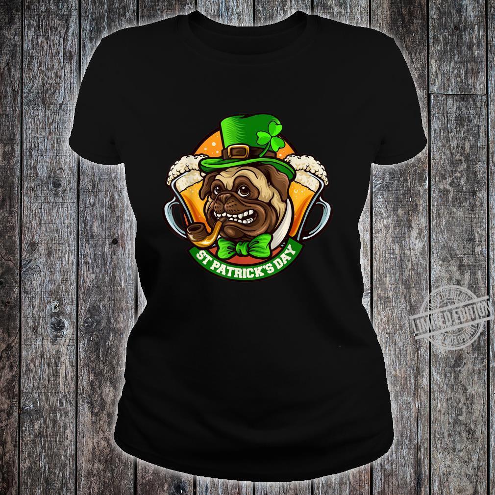 Pug Irish Clover St Patrick's Day Dog Shirt ladies tee