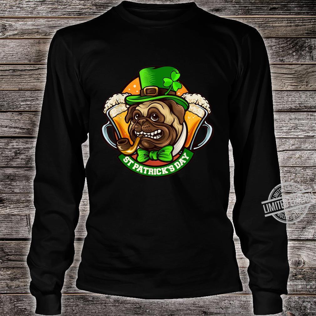 Pug Irish Clover St Patrick's Day Dog Shirt long sleeved