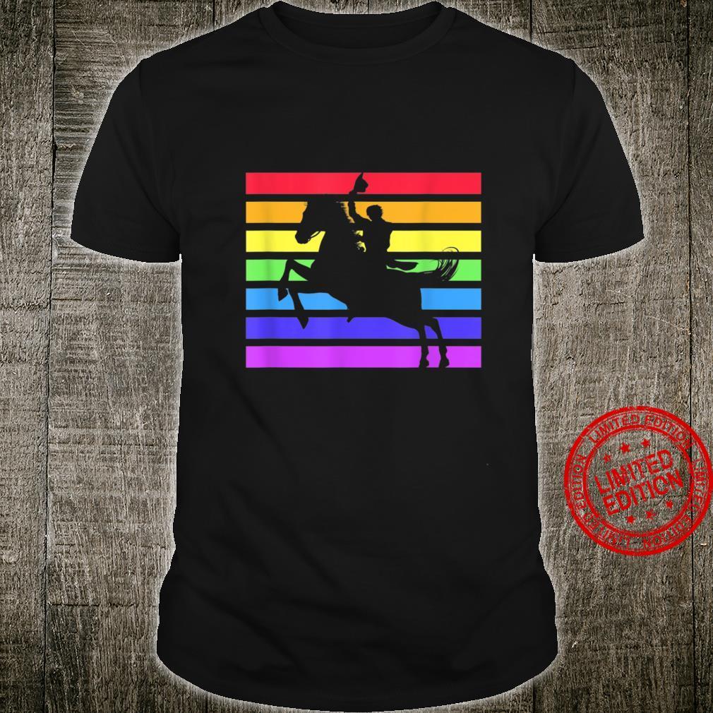 Rainbow Cowboy Western Rodeo Pride Flag LGBT Yee Haw Shirt