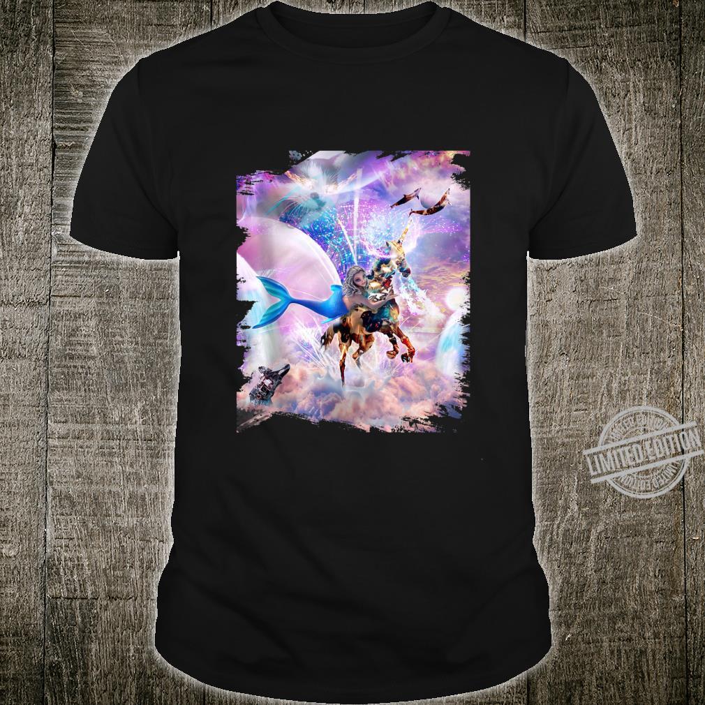Rainbow Mermaid on Unicorn Robot Shirt