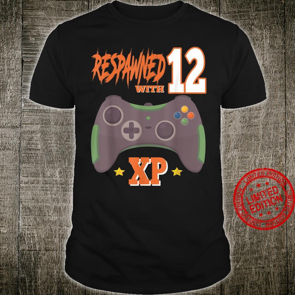 Respawned With 12 XP Video Gamer 12th Birthday Boy Shirt