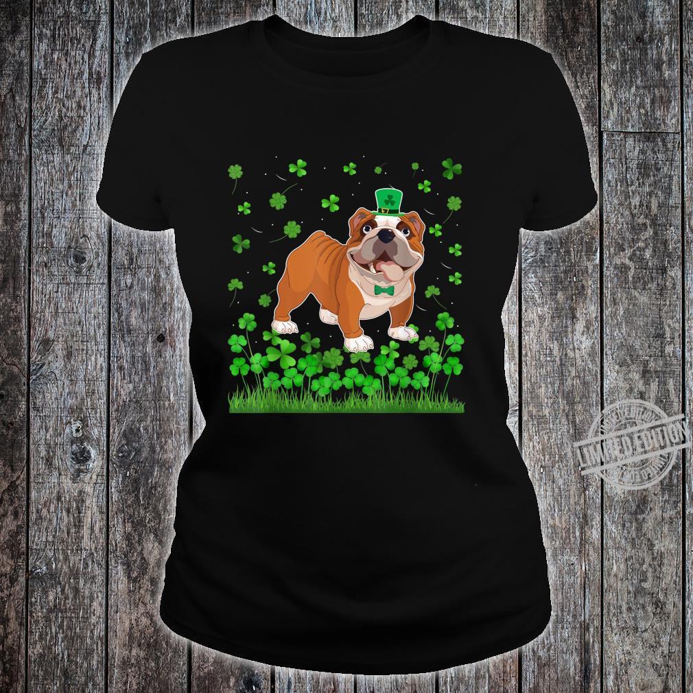 Shamrock English Bulldog Dog Mom Dad St Patricks Day Irish Shirt ladies tee