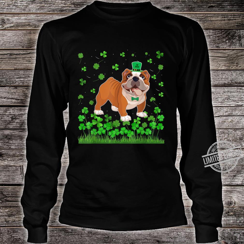 Shamrock English Bulldog Dog Mom Dad St Patricks Day Irish Shirt long sleeved