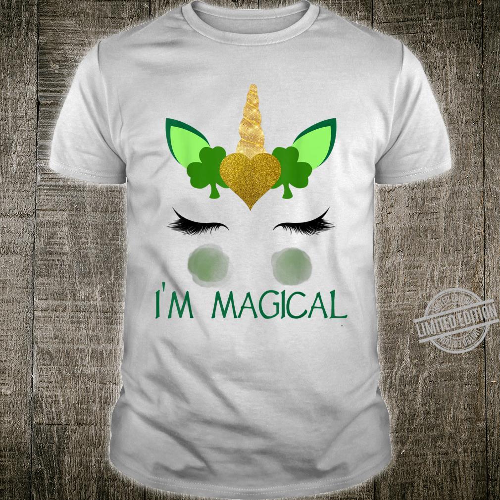 St Patricks Day Unicorn Face Girlsn I'm Magical Shirt
