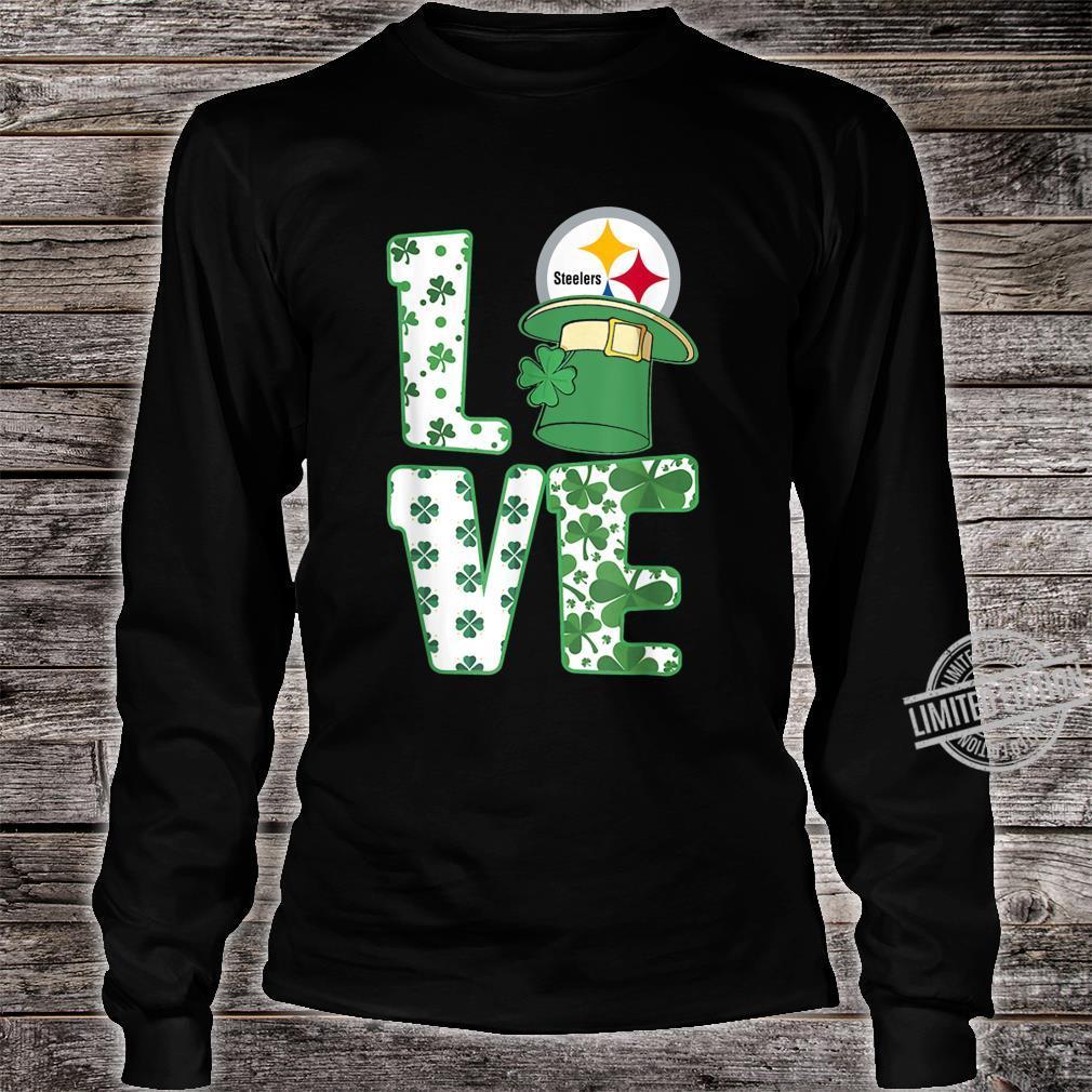 St.Patrick's Day Football Love Team PittsburghSteeler Shirt long sleeved