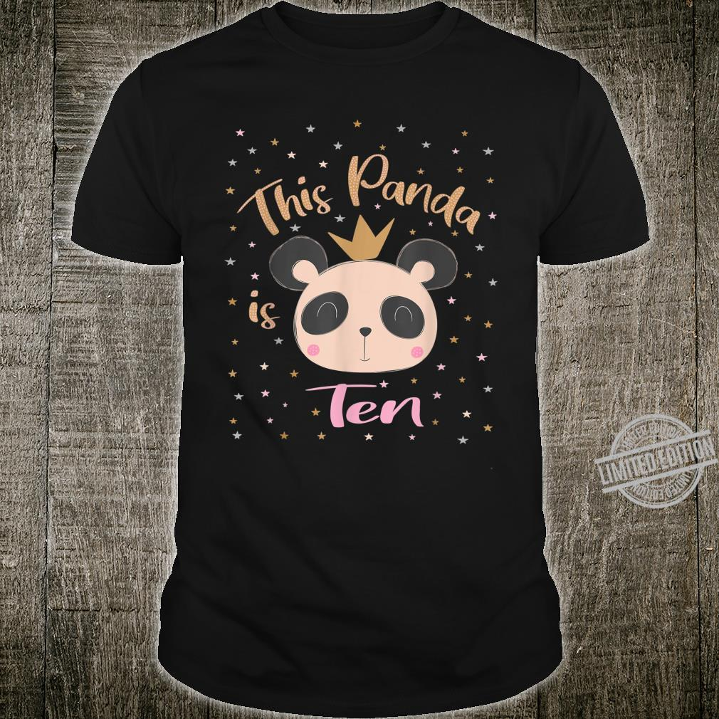 This Little Panda Is Ten Years Old 10th Girl Birthday Party Shirt