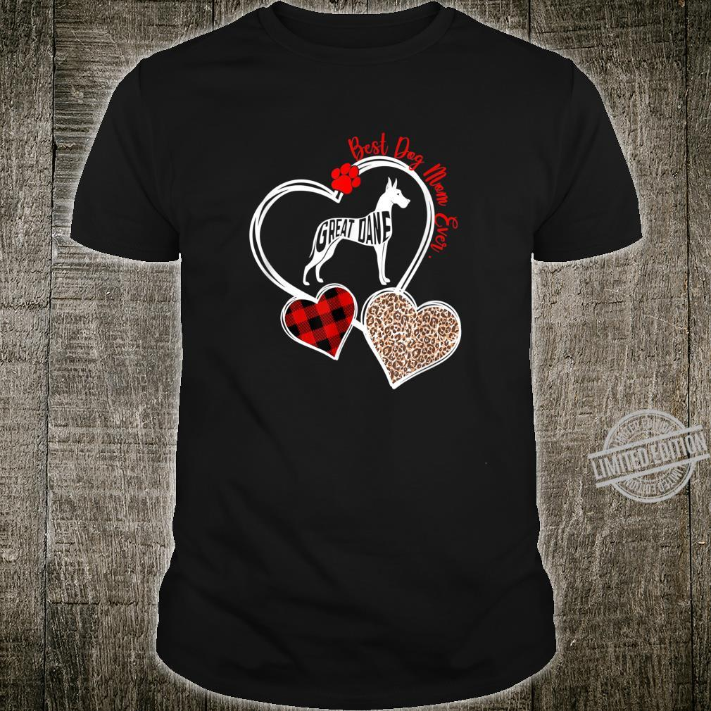 Three Heart Best Great Dane Mom Ever's Day Shirt