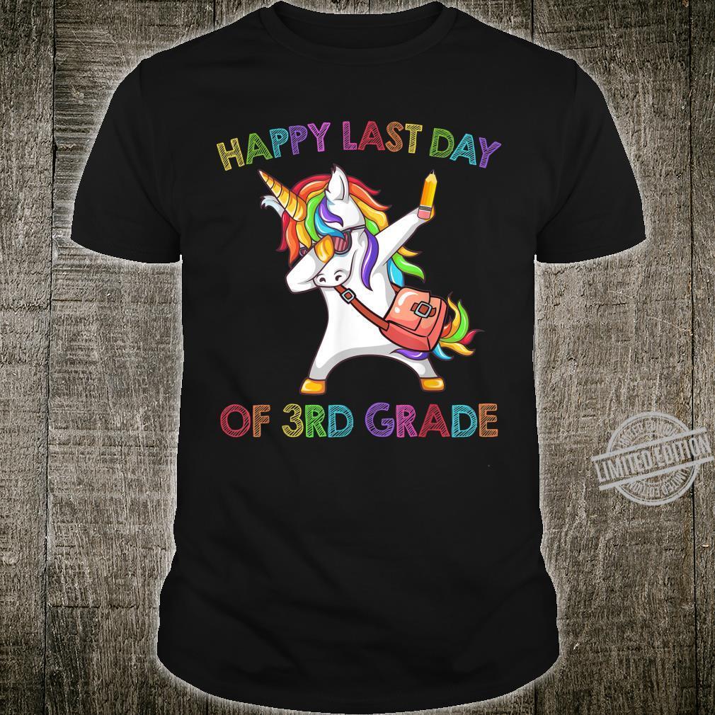 Unicorn Dabbing Happy Last Day Of 3Rd Grade Shirt