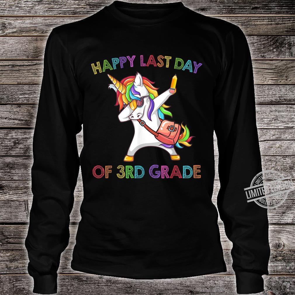 Unicorn Dabbing Happy Last Day Of 3Rd Grade Shirt long sleeved