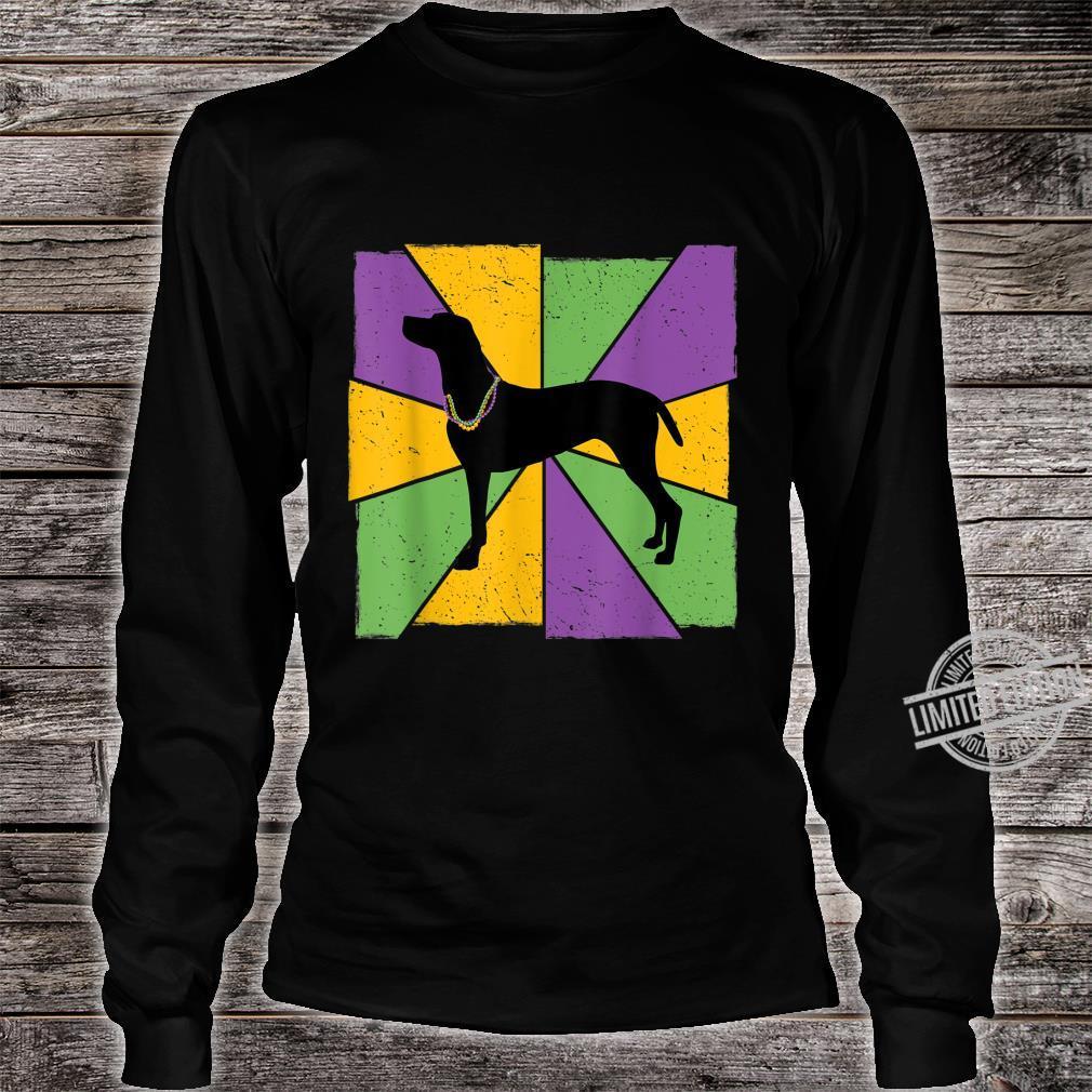 Vintage Mardi Gras Vizsla, Vizsla Dog Owner Mardi Gras Shirt long sleeved