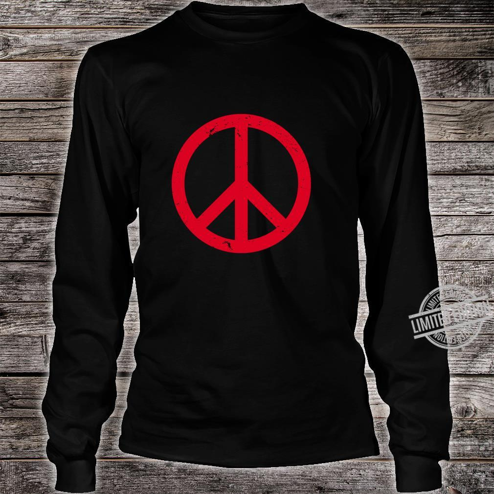 Vintage Red Peace Sign Shirt long sleeved