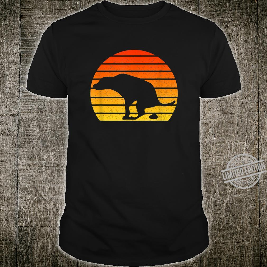 Vintage Retro Sunset Labrador Dog Pooping Shirt