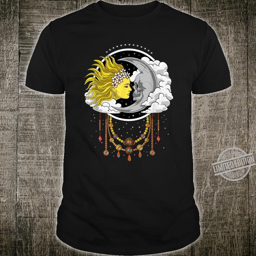 Vintage Skull Moon Sun Celestial Witchcraft Spiritual Shirt