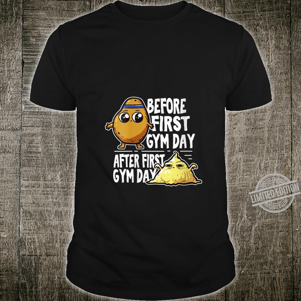 Womens Before After Gym Day Workout Fitness Meme Shirt