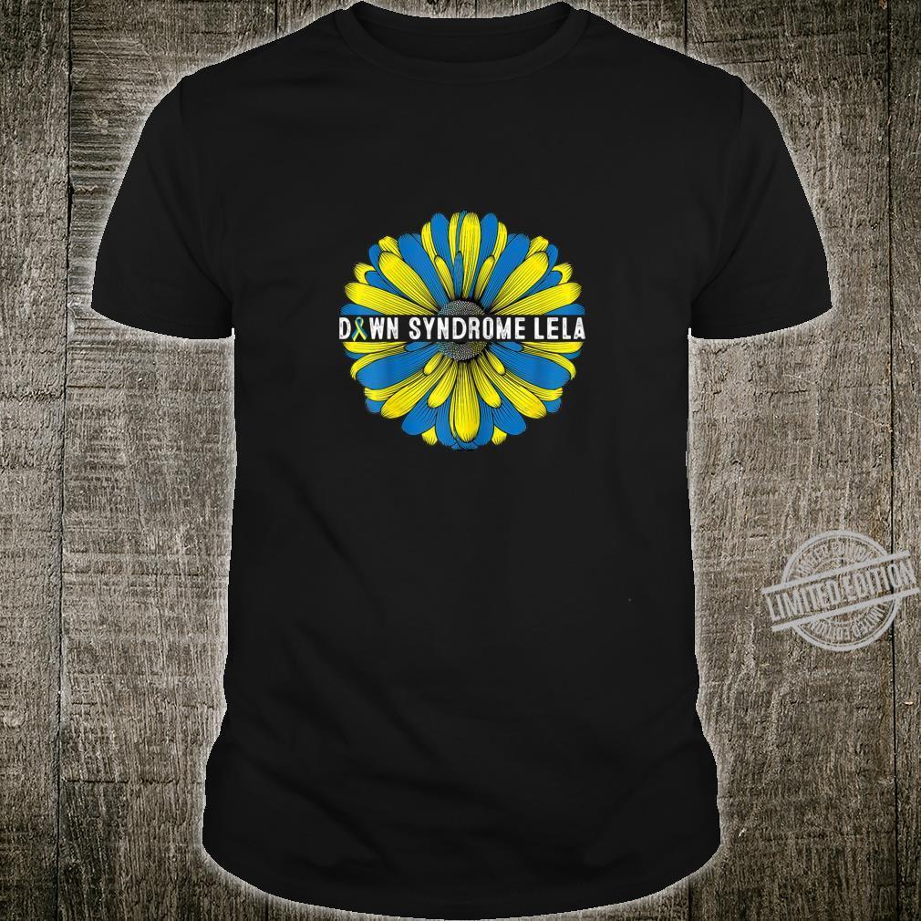 Womens Down Syndrome Lela Awareness Trisomy 21 Gold Blue Sunflower Shirt