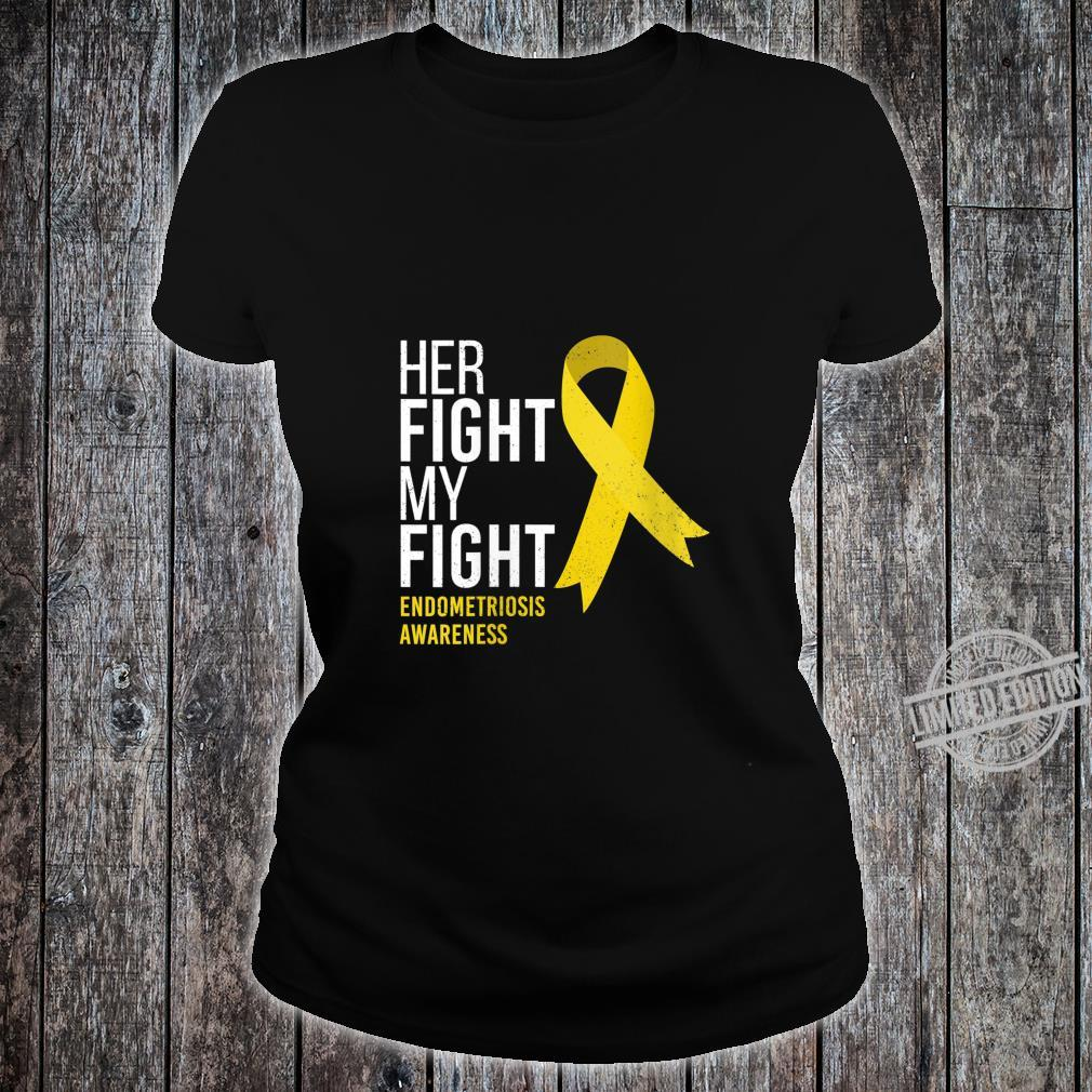 Womens Her Fight is My Fight Endometriosis Awareness Support Ribbon Shirt ladies tee