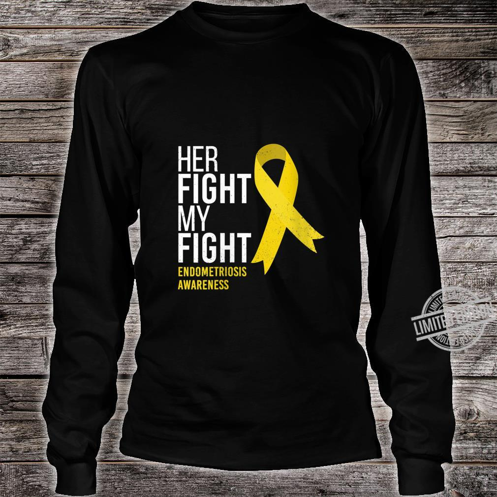 Womens Her Fight is My Fight Endometriosis Awareness Support Ribbon Shirt long sleeved