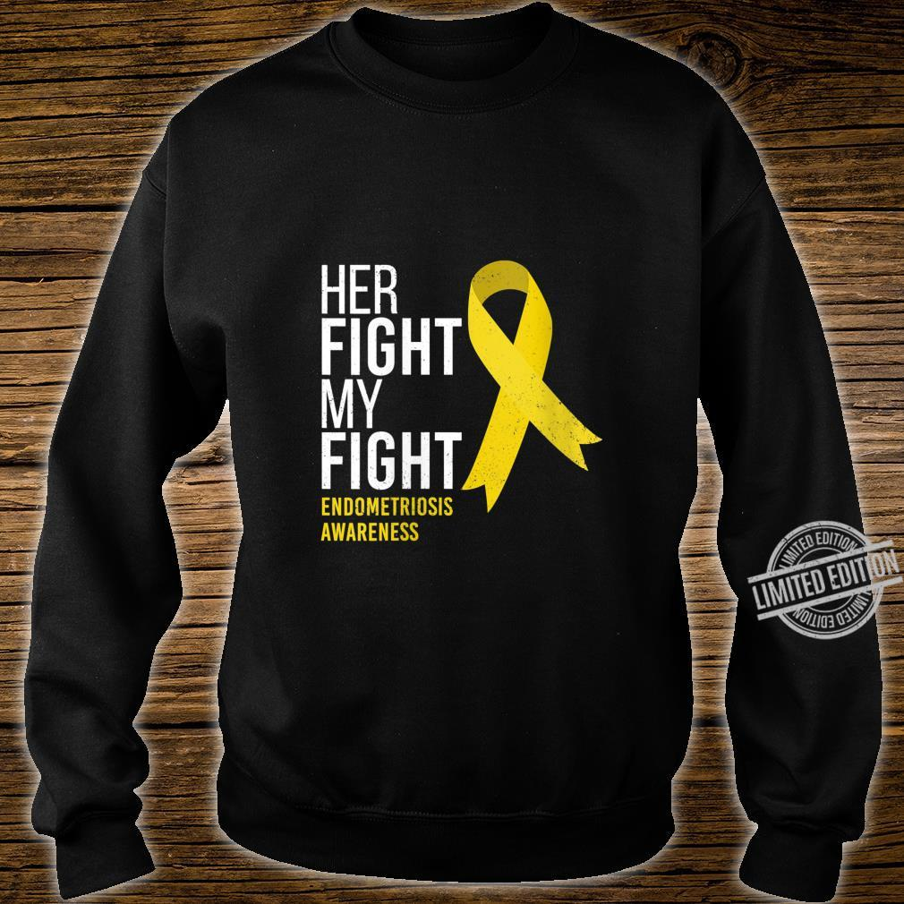 Womens Her Fight is My Fight Endometriosis Awareness Support Ribbon Shirt sweater