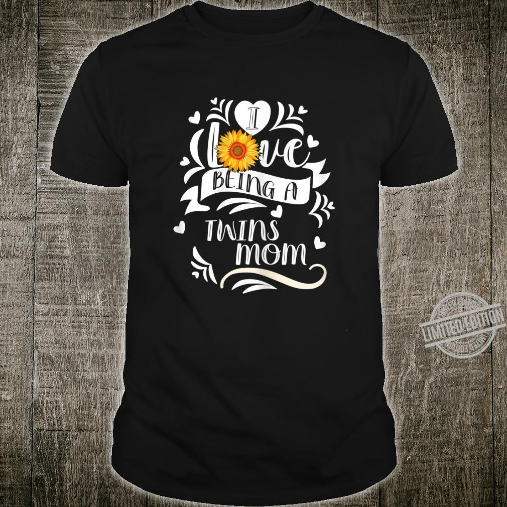 Womens I Love Being A Twins Mom Hippie Floral Shirt
