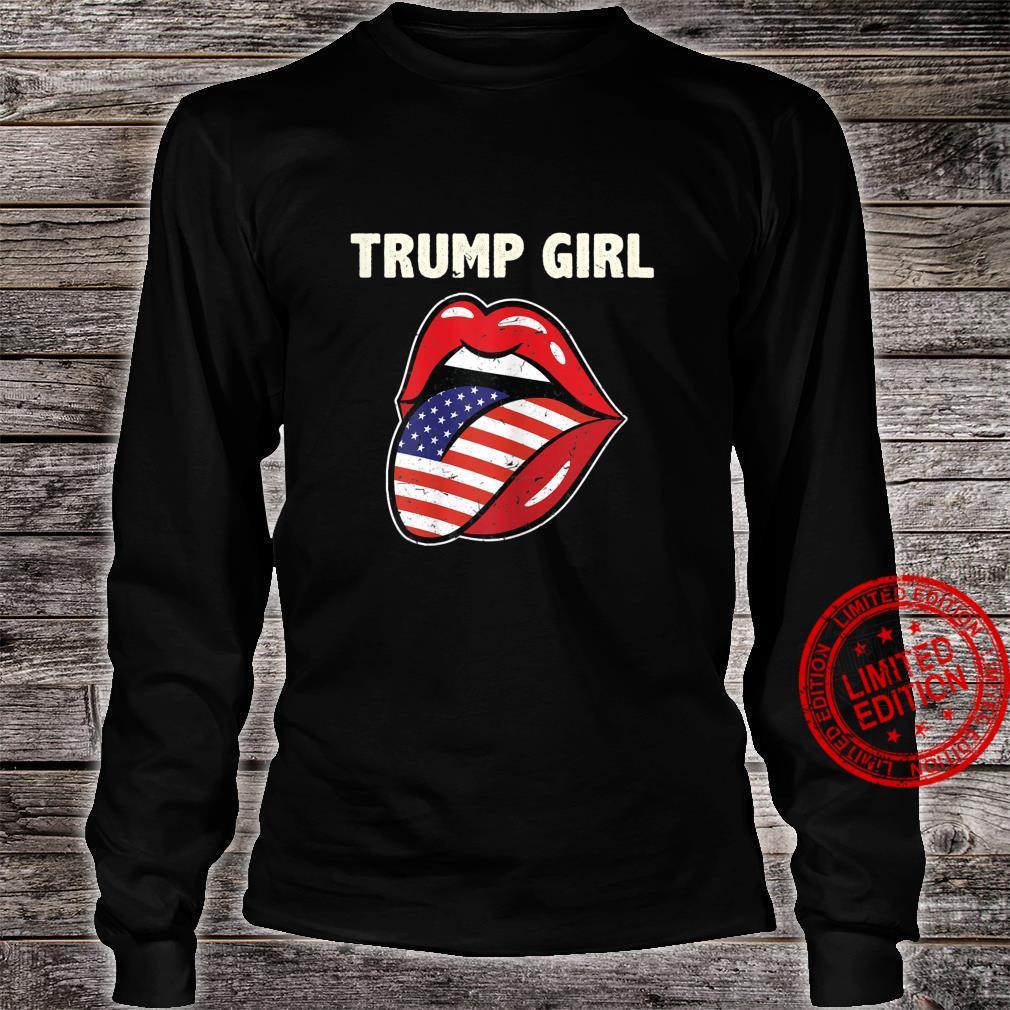 Womens Ki America Flag Lips Trump Girl Costume 2020 Election Shirt long sleeved