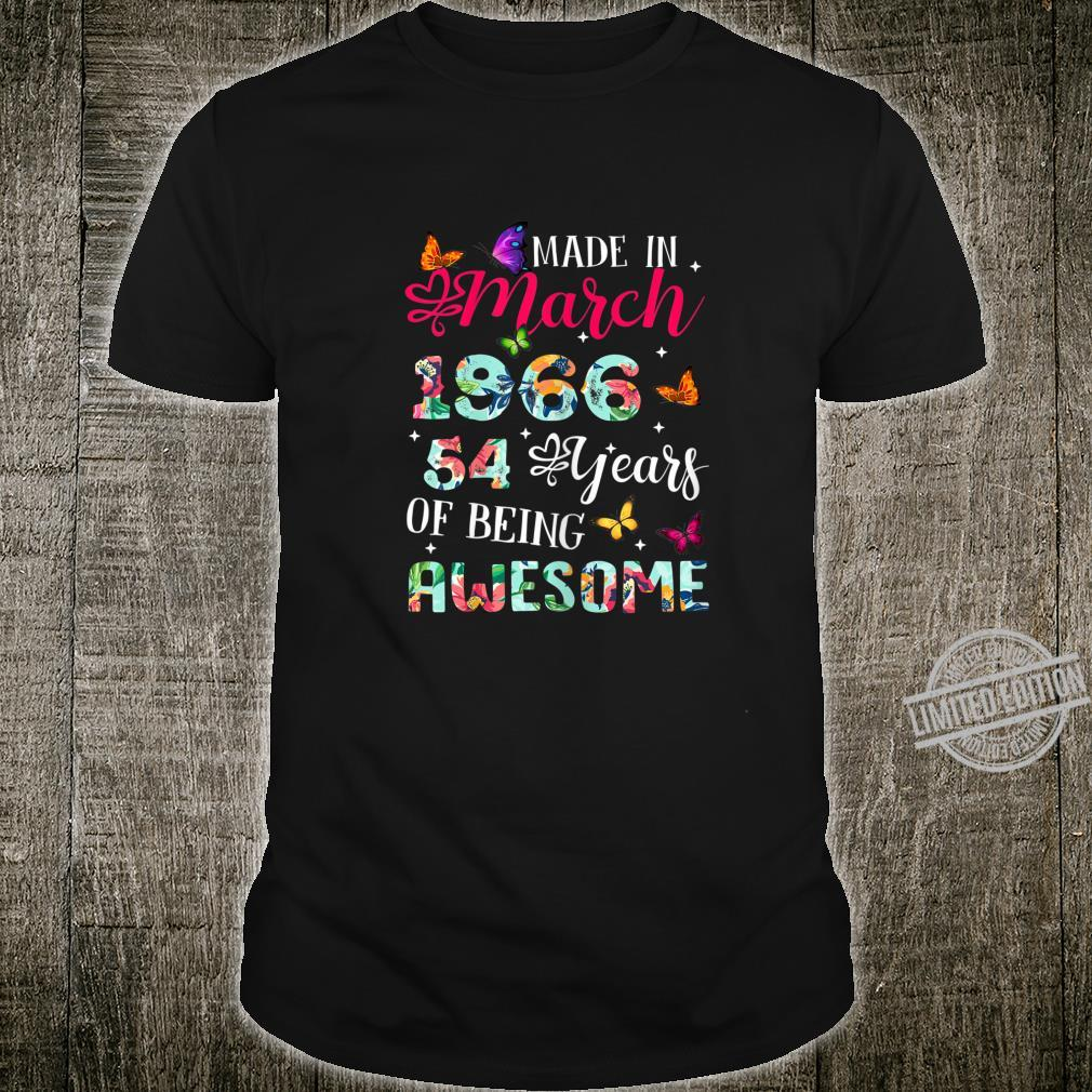 Womens March 1966 Birthday 54 Years Of Being Awesome Shirt